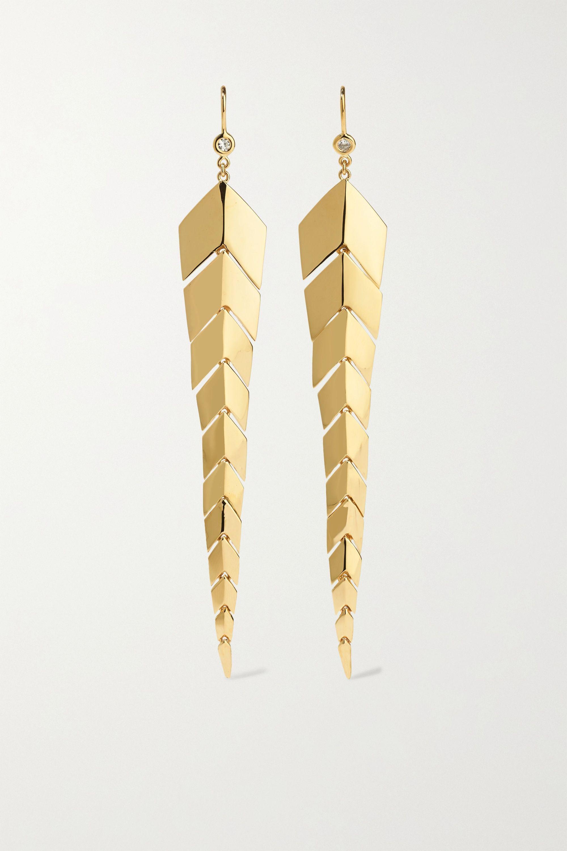 Jacquie Aiche Medium Fishtail 14-karat gold diamond earrings