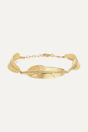 Bracelet en or 14 carats et diamants Feather
