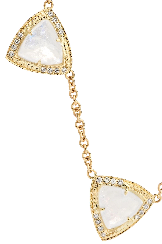 Jacquie Aiche Mini Pyramid 14-karat gold, moonstone and diamond necklace