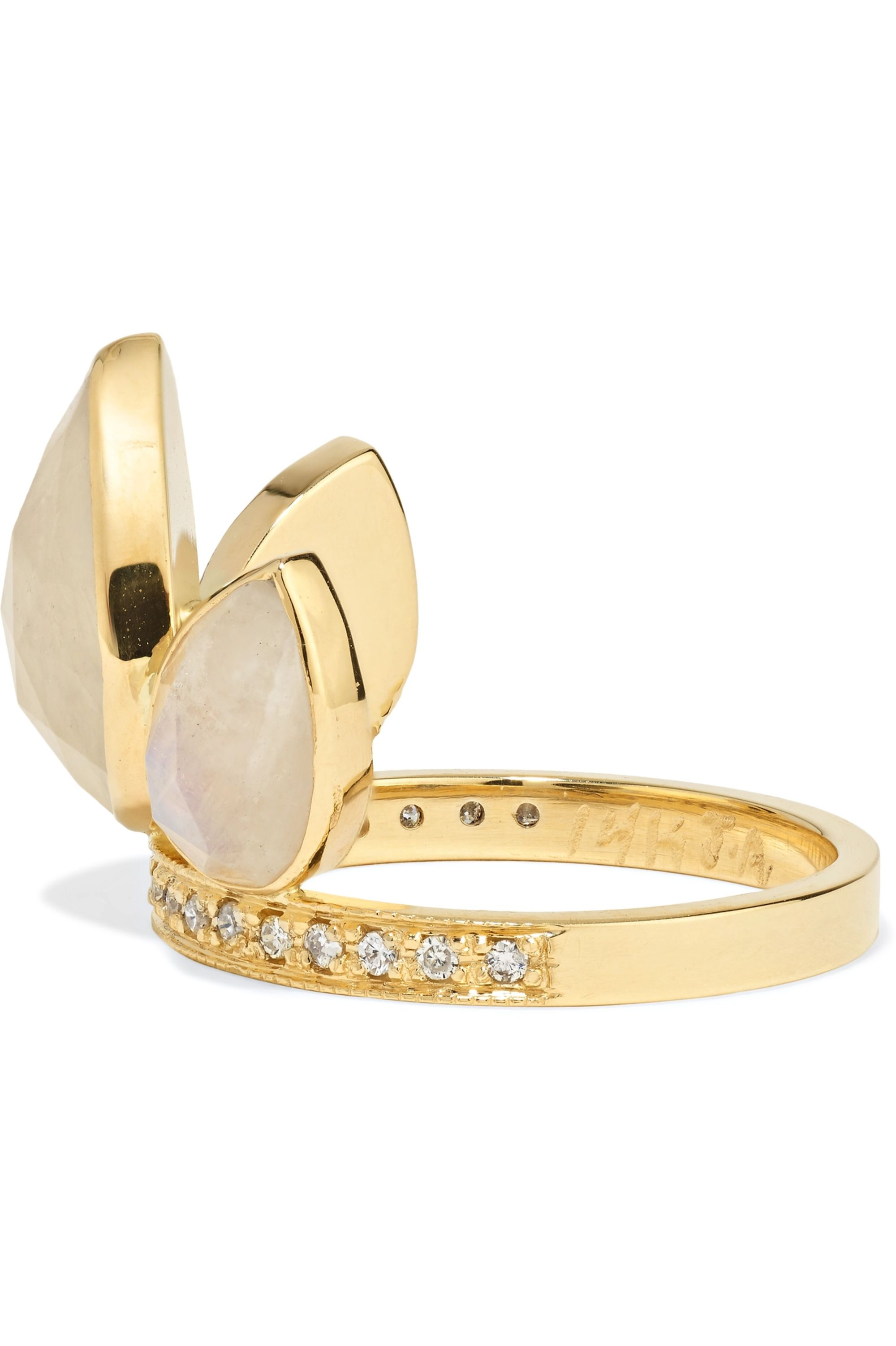 Jacquie Aiche 14-karat gold, moonstone and diamond ring