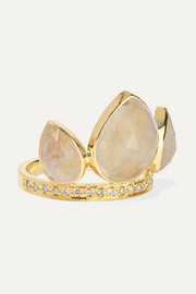 14-karat gold, moonstone and diamond ring