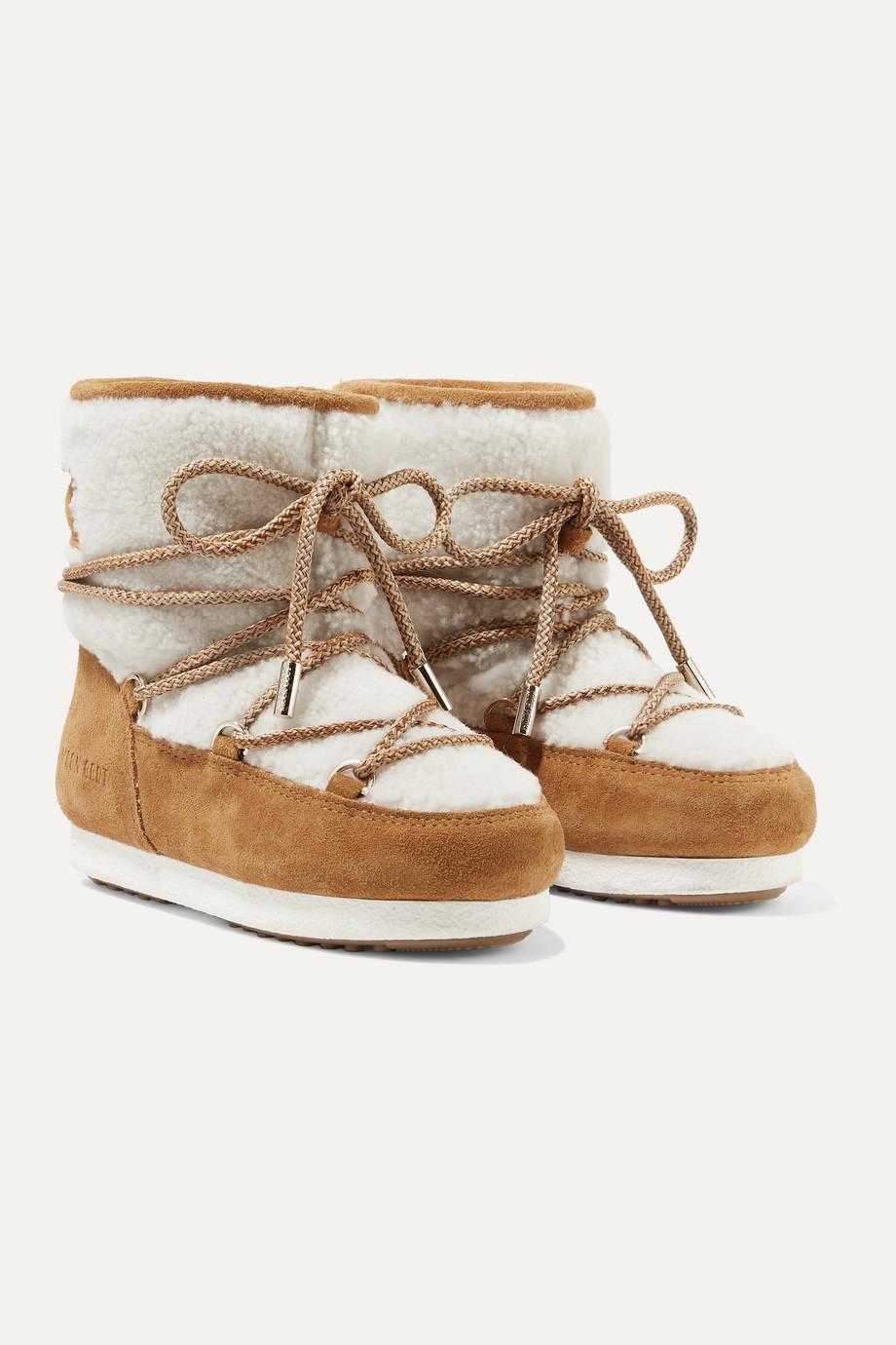 Moon Boot Kids 【 4 - 11 岁】羊毛皮绒面革雪地靴