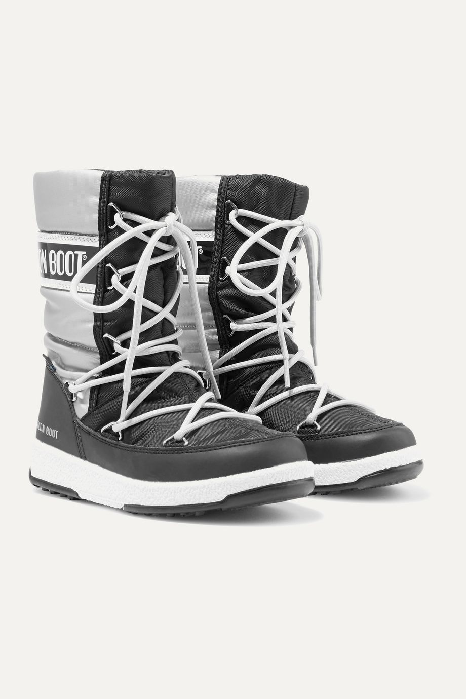 Moon Boot Kids 【 2 - 14 岁】双色软壳面料漆光面料人造皮革雪地靴