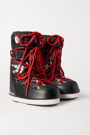 Printed shell and faux leather snow boots