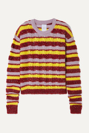Metallic striped cable-knit mohair-blend sweater