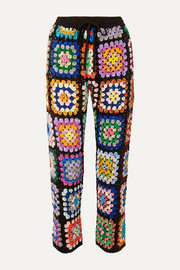 Cropped sequined georgette pants