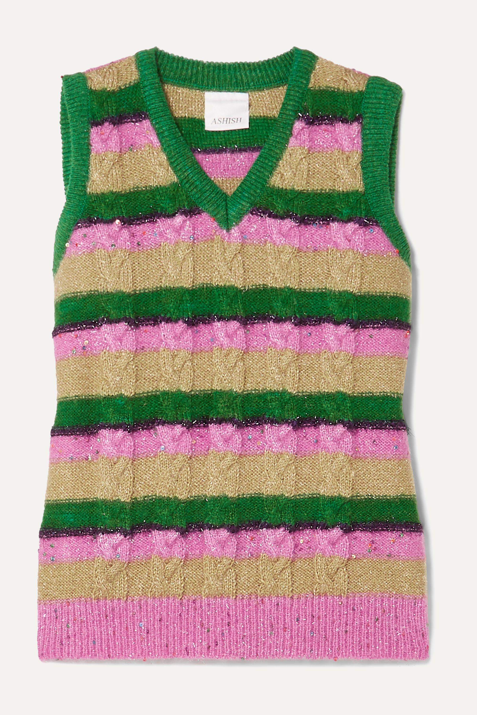 Ashish Metallic striped cable-knit vest