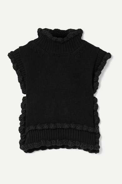 Cecilie Bahnsen Tops TAYLOR SCALLOPED RIBBED WOOL VEST