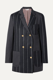 Double-breasted paneled pinstriped wool-felt and twill blazer