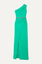 Safiyaa Camille one-shoulder crystal-embellished crepe gown