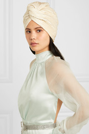Frankie faux pearl-embellished stretch-crepe turban
