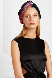 Mila two-tone sequined cotton-blend headband