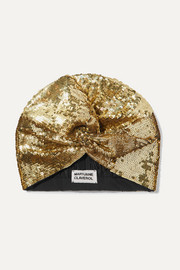 MaryJane Claverol Adele sequined stretch-jersey turban