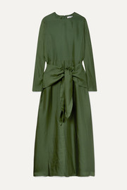 Artemis knotted silk-twill maxi dress