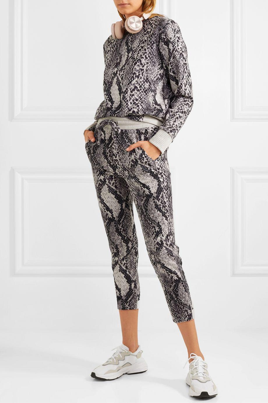 TWENTY Montréal Strike cropped cotton-blend snake-jacquard track pants