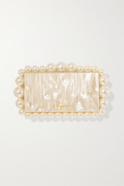Eos faux pearl-embellished marbled acrylic clutch