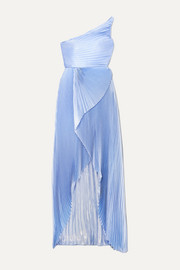 SemSem One-shoulder asymmetric pleated silk and Lurex-blend gown