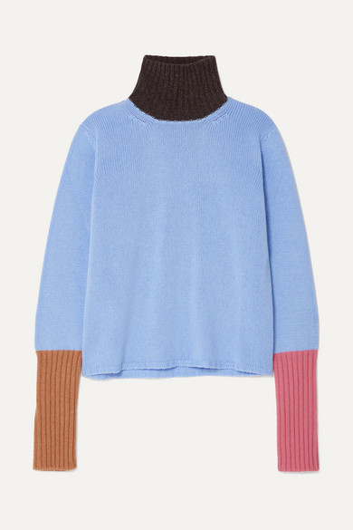 Marni Tops Color-block cashmere turtleneck sweater