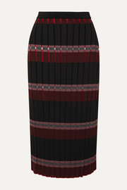 Marni Pleated striped knitted midi skirt