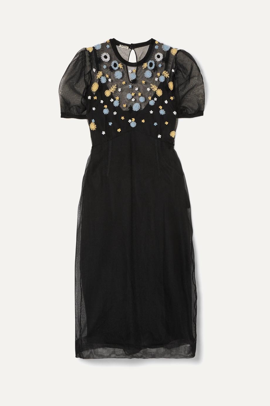 Miu Miu | Embroidered tulle midi dress | NET-A-PORTER.COM