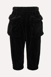 Cropped cotton-velvet track pants