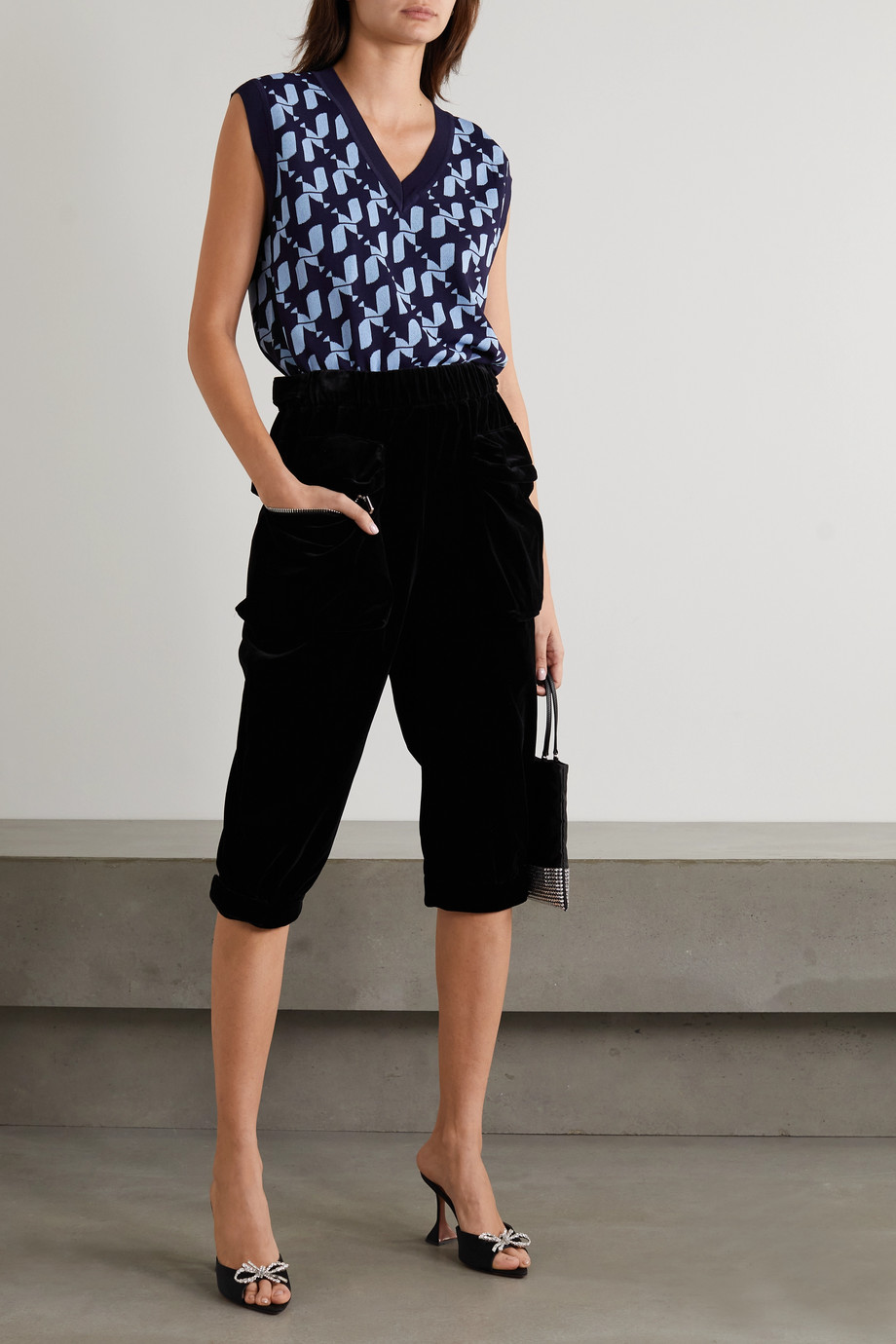 Miu Miu Cropped cotton-velvet track pants
