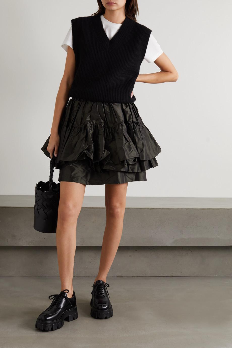 Miu Miu Layered silk-taffeta mini skirt