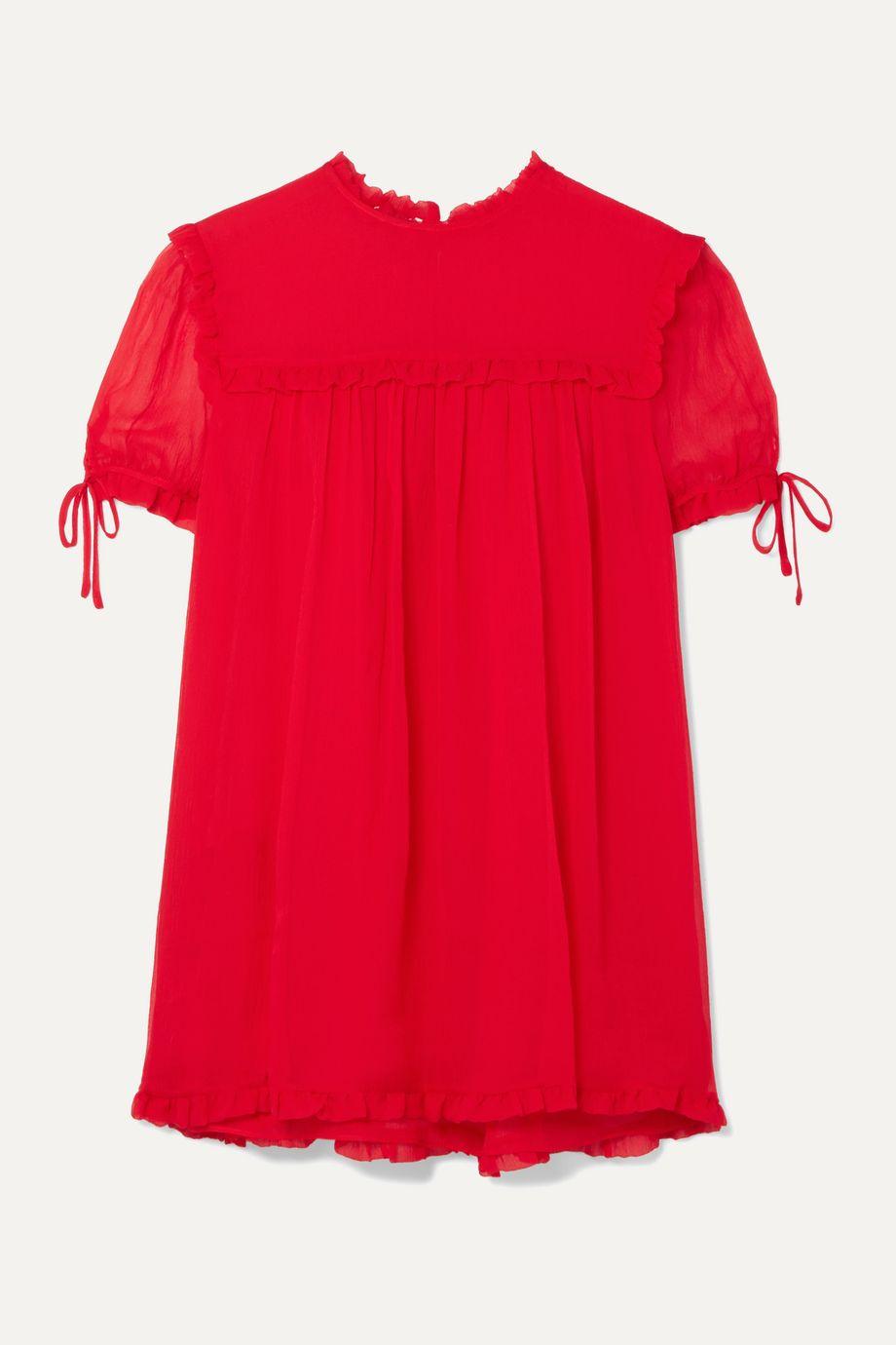 Miu Miu Ruffled silk-crepon blouse