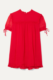 Ruffled silk-crepon blouse