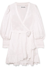 Reformation Harriet ruffled organic broderie anglaise cotton wrap dress