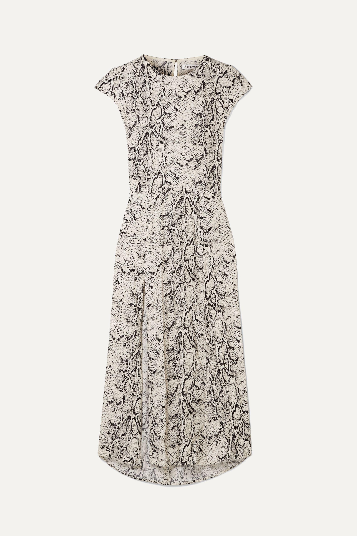 Reformation Gavin open-back snake-print crepe de chine midi dress