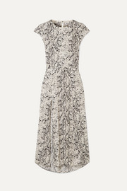 Reformation Gavin open-back snake-print crepe de chine midi dress