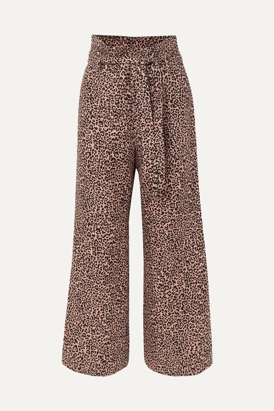 Reformation Pantalon large raccourci en lin à imprimé léopard et à ceinture Jackie