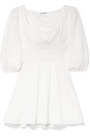 Reformation Verona shirred tiered cotton-gauze mini dress