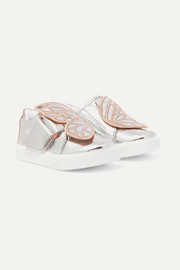 Size 21 - 26 Bibi Butterfly embroidered mirrored-leather sneakers