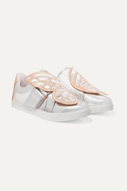 Size 27 - 34 Bibi Butterfly embroidered mirrored-leather sneakers