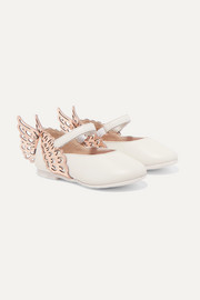 Size 21-26 Evangeline metallic and textured-leather ballet flats