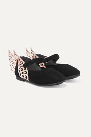 Size 21 - 26 Evangeline suede and metallic leather ballet flats