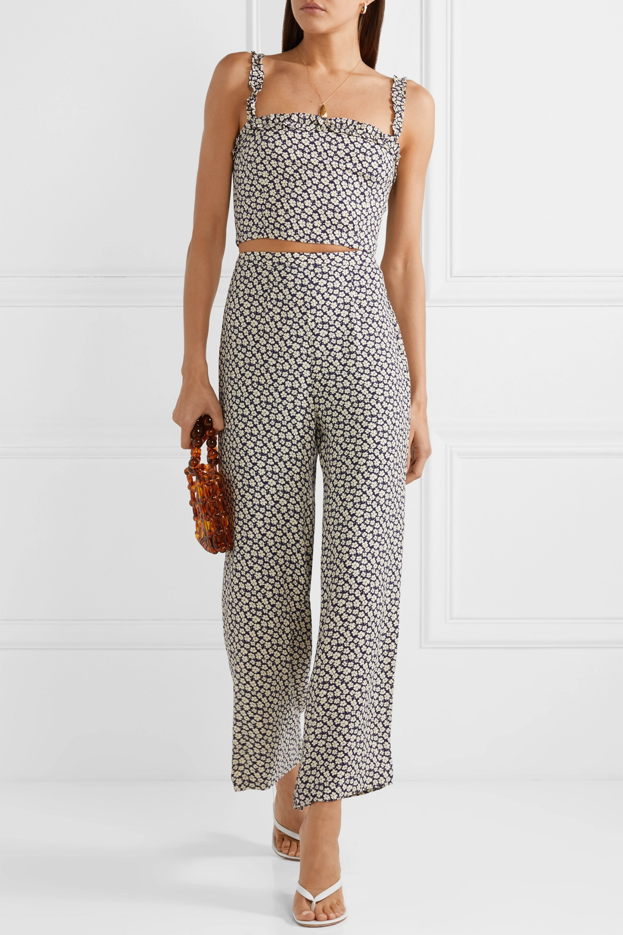 Reformation Coco floral-print crepe top and pants set