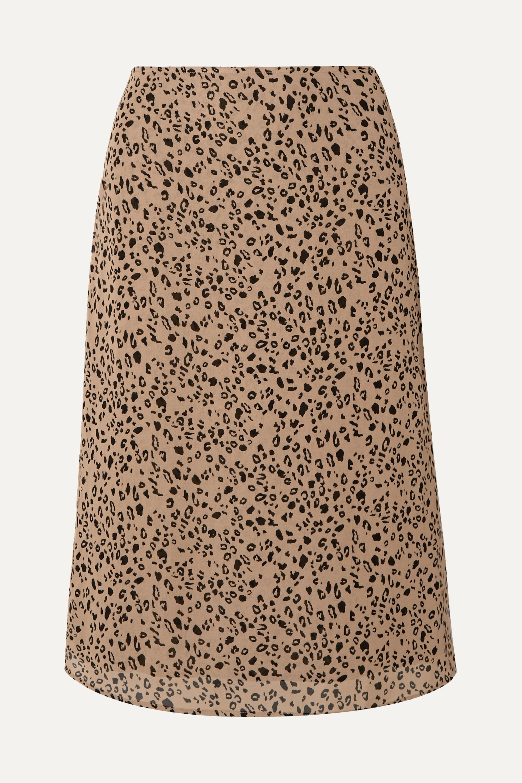 Reformation Mia leopard-print georgette midi skirt
