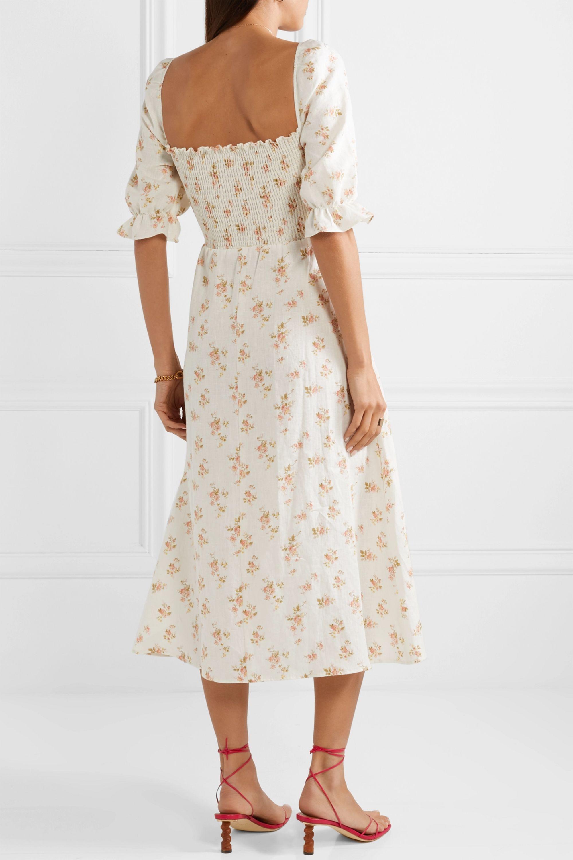 Reformation Marabella shirred floral-print linen midi dress