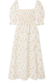 Reformation Marabella shirred floral-print linen midi dress