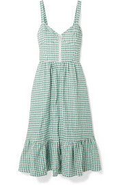 Reformation Dolci gingham linen midi dress