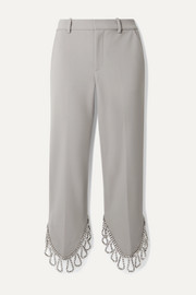 Cropped crystal-embellished woven straight-leg pants