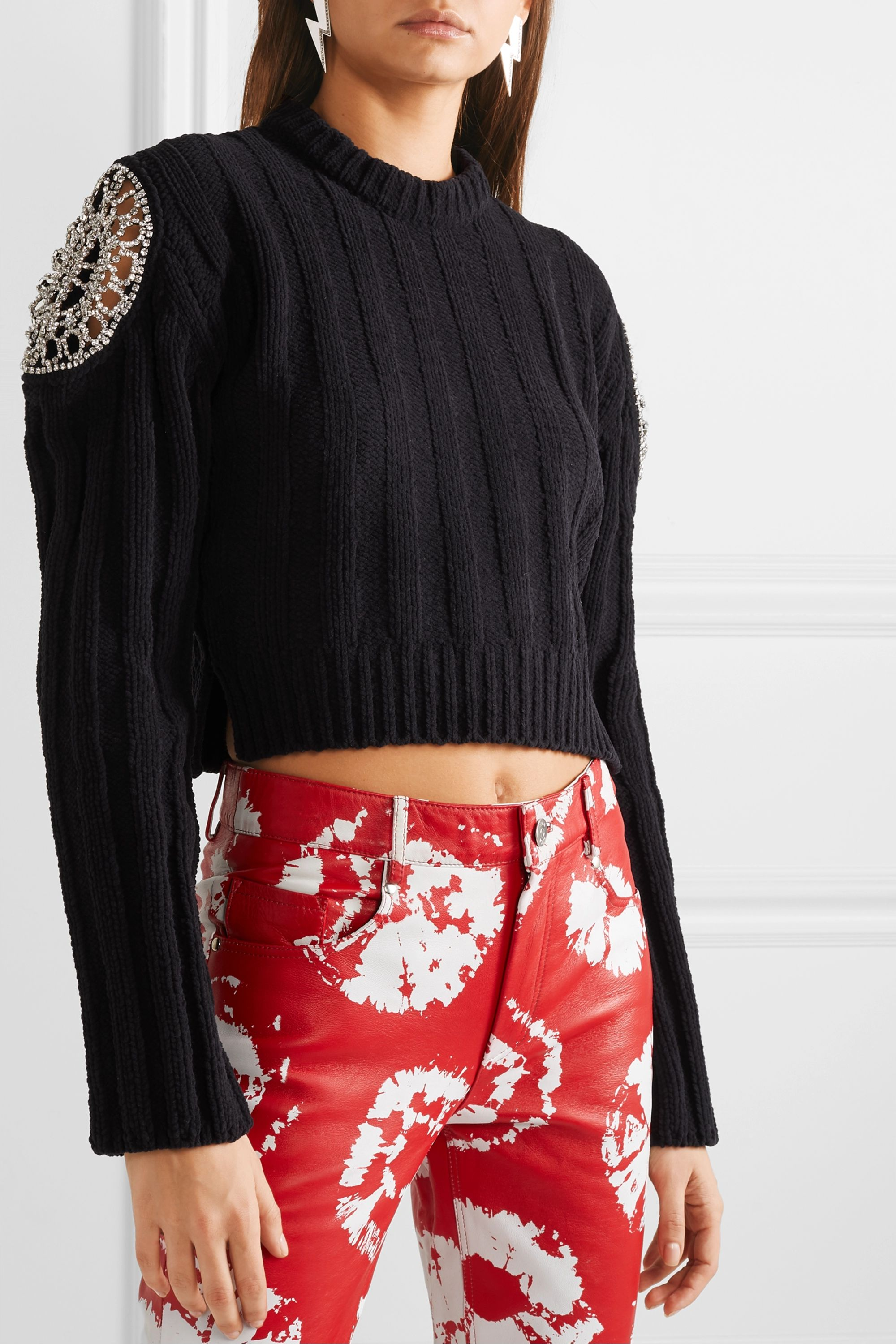 AREA Cropped crystal-embellished ribbed chenille sweater