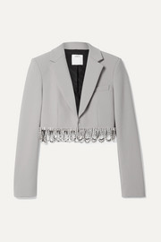 AREA Cropped crystal-embellished woven blazer