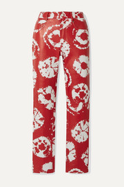 Printed leather straight-leg pants
