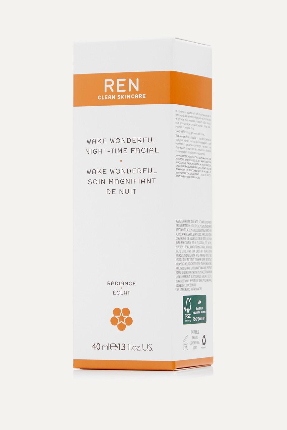 REN Clean Skincare + NET SUSTAIN Wake Wonderful Night-Time Facial, 40 ml – Gesichtskur