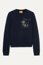 Le Lion Capricorn embellished embroidered wool sweater