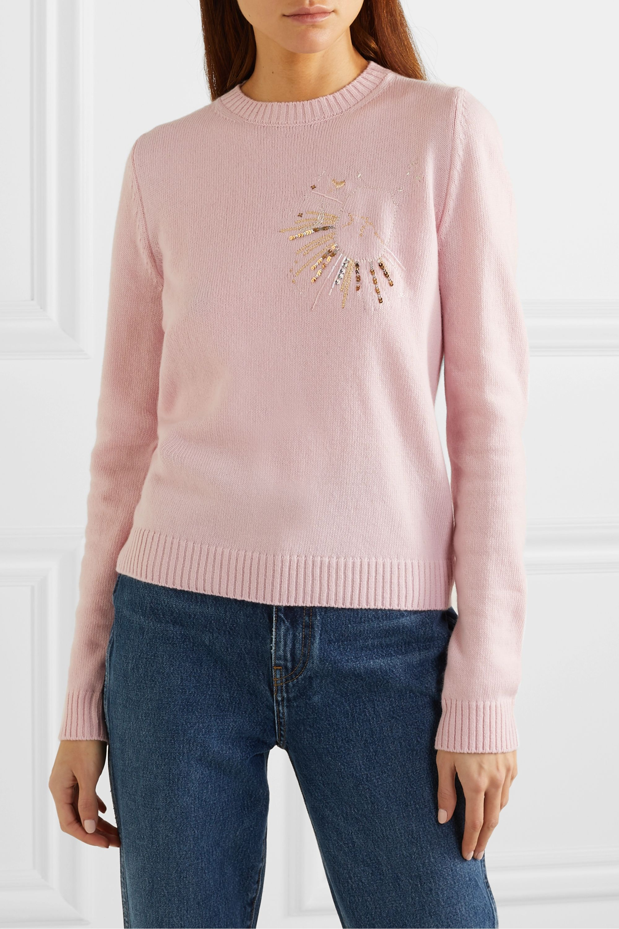 Le Lion Aquarius embellished embroidered wool sweater